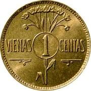 Lithuania Centas 1925 KM# 71 Republic VIENAS 1 CENTAS coin reverse