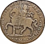 Ireland Crown James II Gun Money 1690 KM# 103.2 BRI FRA ET HIB REX IAC II DEI GRA MAG coin obverse