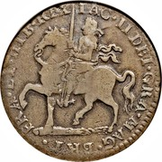 Ireland Crown James II Gun Money 1690 Legend varieties exist KM# 103.1 BRI FRA ET HIB REX IAC II DEI GRA MAG coin obverse