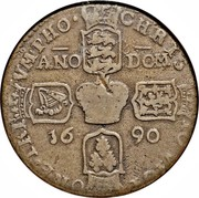 Ireland Crown James II Gun Money 1690 Proof KM# 103.1a CHRIS TO VICT ORE TRI VMPHO ANO DOM 16 90 coin reverse