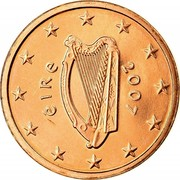 Ireland Euro Cent 2007 Proof KM# 32 Euro Coinage ÉIRE 2002 coin obverse
