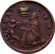 Ireland Farthing (1678) KM# 86.2a Standard Coinage FLOREAT REX coin obverse