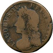 Ireland Farthing 1691 KM# 107.1 Siege of Limerick IACOBVS II DEI GRATIA coin obverse