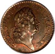 Ireland Farthing 1723 . KM# 119a Standard Coinage GEORGIVS DEI GRATIA REX coin obverse