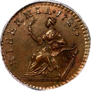 Ireland Farthing 1723 KM# 119 Standard Coinage HIBERNIA . 1723 coin reverse