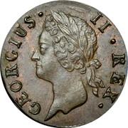 Ireland Farthing 1744 KM# 131 Standard Coinage GEORGIUS II REX coin obverse