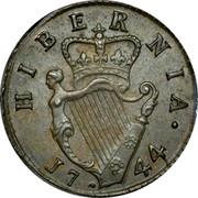 Ireland Farthing 1744 KM# 131 Standard Coinage HIBERNIA 1744 coin reverse
