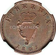 Ireland Farthing 1806 Restrike. Proof KM# 146.2b Standard Coinage coin reverse