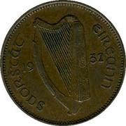 Ireland Farthing 1932 KM# 1 Sterling Coinage SAORSTÁT ÉIREANN 19 30 coin obverse