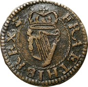 Ireland Farthing Charles I (1660-1661) KM# 85 FRA ET HIB REX coin reverse