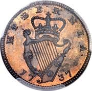 Ireland Farthing George II 1737 KM# 126 HIBERNIA 1738 coin reverse