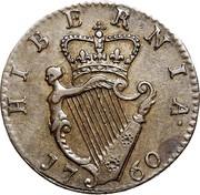 Ireland Farthing George II 1760 KM# 135 HIBERNIA 1760 coin reverse