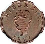 Ireland Farthing George III 1806 Restrike. Proof KM# 146.2a HIBERNIA 1806 coin reverse