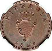 Ireland Farthing George III 1806 Restrike. Proof KM# 146.2c HIBERNIA 1806 coin reverse