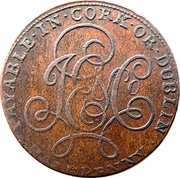 Ireland Halfpenny Cork - J E & Co 1794  J E & CO PAYABLE ∙ IN ∙ CORK ∙ OR ∙ DUBLIN ∙ HALFPENNY ∙ coin reverse