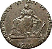 Ireland Halfpenny (Dublin - Camac Kyan and Camac) INCORPORATED BY ACT OF PARLIAMENT 1792 coin obverse