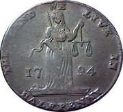 Ireland Halfpenny Dublin L & R 1794  THE LAND WE LIVE IN HALFPENNY 1794 coin obverse