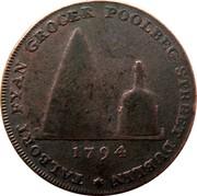 Ireland Halfpenny Dublin - Talbort Fyan 1794  TALBORT FYAN GROCER POOLBEG STREET DUBLIN * 1794 BRANDY coin reverse