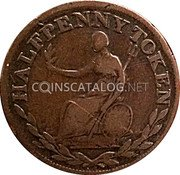 Canada Halfpenny (Field Marshal Wellington . Large letters) HALFPENNY TOKEN coin reverse