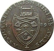 Ireland Halfpenny (Wicklow - Cronebane) ASSOCIATED IRISH MINERS ARMS 17 89 coin reverse