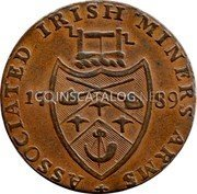 Ireland Halfpenny (Wicklow - Cronebane / Miners Arms) ASSOCIATED IRISH MINERS' ARMS 17 89 coin reverse