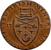 Ireland Halfpenny (Wicklow - Cronebane Miners Arms) ASSOCIATED IRISH MINERS' ARMS 17 89 coin reverse