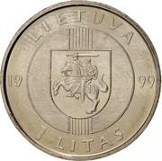 Lithuania Litas 10th Anniversary of the Baltic Way 1999 KM# 117 LIETUVA 19 99 1 LITAS coin obverse