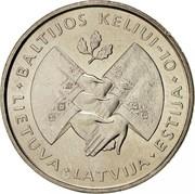 Lithuania Litas 10th Anniversary of the Baltic Way 1999 KM# 117 BALTIJOS KELIUI-10 LIETUVA * LATVIJA * ESTIJA coin reverse