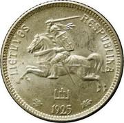 Lithuania Litas 1925 KM# 76 Republic LIETUVOS RESPUBLIKA 1925 coin obverse