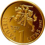 Lithuania Litas 75th Anniversary - Bank of Lithuania 1997 Proof KM# 109a 1/4 UNCIJOS AU 999,9 LMK LIETUVA 1 LITAS 1997 coin obverse