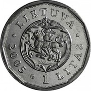 Lithuania Litas Reconstruction of Royal Palace 2005 KM# 142 LIETUVA • 2005 1 LITAS • coin obverse
