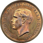 UK One Penny Edward VIII (Pattern) 1937 Proof KM# Pn124 EDWARDVS VIII D : G : BR : OMN : REX F : D : IND : IMP. coin obverse