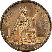 UK One Penny Edward VIII (Pattern) 1937 Proof KM# Pn124 ONE PENNY 1937 coin reverse