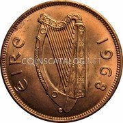 Ireland Penny 1968 Proof KM# 11 Republic coin obverse