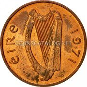 Ireland Penny 1971 KM# 20 Decimal Coinage coin obverse