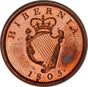 Ireland Penny George III 1805 Restrike. Proof KM# 148.2 HIBERNIA 1805 coin reverse
