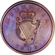 Ireland Penny George III 1805 Restrike. Proof KM# 148.2b HIBERNIA 1805 coin reverse