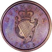 Ireland Penny George III 1805 Restrike. Proof KM# 148.2c HIBERNIA 1805 coin reverse