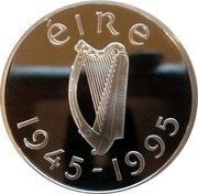 Ireland Punt United Nations 1995 Proof KM# 30 ÉIRE 1945-1995 coin obverse