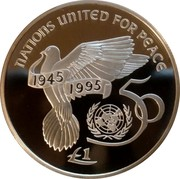 Ireland Punt United Nations 1995 Proof KM# 30 NATIONS UNITED FOR PEACE 1945 1995 50 £1 coin reverse