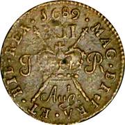 Ireland Shilling 1689 Aug KM# 94 Gun Money Coinage IACOBVS • II • DEI • GRATIA • coin reverse