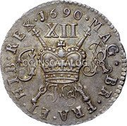 Ireland Shilling 1690 Proof, May KM# 100a Gun Money Coinage coin reverse