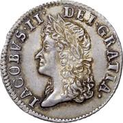 Ireland Shilling James II Gun Money 1690 Proof, May KM# 100a IACOBUS∙II∙DEI∙GRATIA. coin obverse