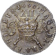 Ireland Shilling James II Gun Money 1690 Proof, May KM# 100a 1690∙MAG∙BR∙FRA∙ET∙HIB∙REX∙ XII coin reverse