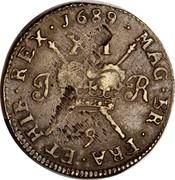 Ireland Shilling (James II Gun Money) KM# 100 1689 XII J R MAG.BR.FRA.ET.HIB.REX coin reverse