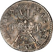 Ireland Sixpence 1689 Proof, Feb KM# 93a Gun Money Coinage coin reverse