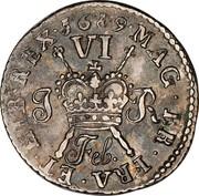 Ireland Sixpence James II Gun Money 1689 Proof, Feb KM# 93a MAG∙BR∙FRA∙ET∙HIB∙REX∙ FEB. 1689 coin reverse