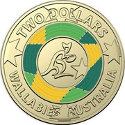 Australia Two Dollars Rugby World cup 2019 UNC TWO DOLLARS WALLABIES AUSTRALIA coin reverse