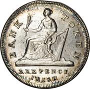Ireland XXX Pence Token George III 1808 Harp top points between O and K in TOKEN. KM# Tn4 BANK TOKEN XXX PENCE IRISH coin reverse
