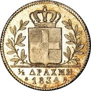 Greece 1/2 Drachma 1834 A KM# 19 Kingdom 1/2 ΔΡΑΧΜΗ 1834 coin reverse